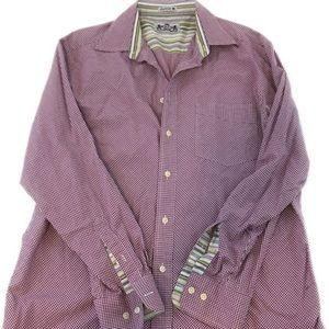 Robert Graham Men's Flip Cuff Shirt Size L Purple